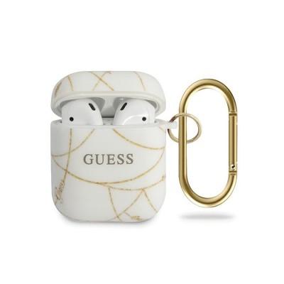 Husa Protectie Originala Guess Pentru Airpods 1/2 - Gold Chain Alb
