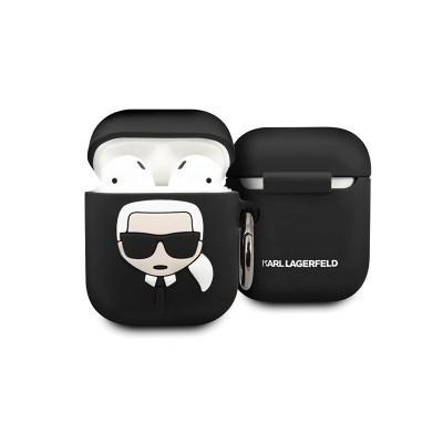 Husa Protectie Karl Lagerfeld Logo Pentru Airpods 1/2 Negru