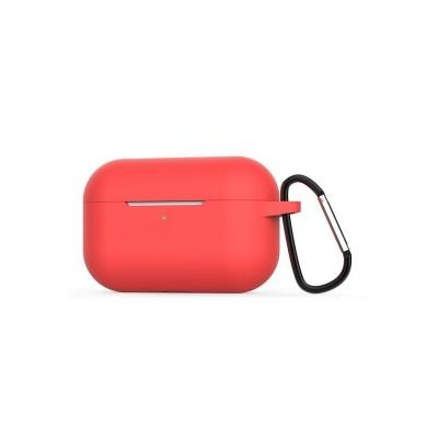 Husa Silicon Forcell Pro Box Airpods + Agatatoare - Transparent - Rosu