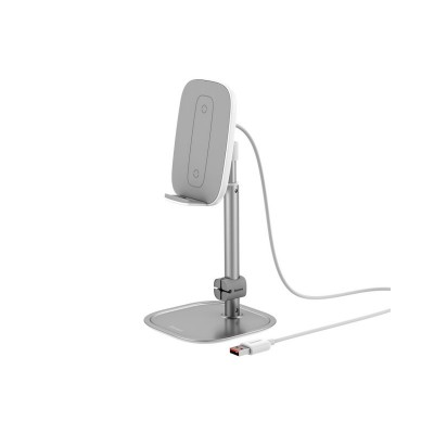 Incarcator Wireless Cu Stand De Birou Baseus Qi Charger 15w ,argintiu