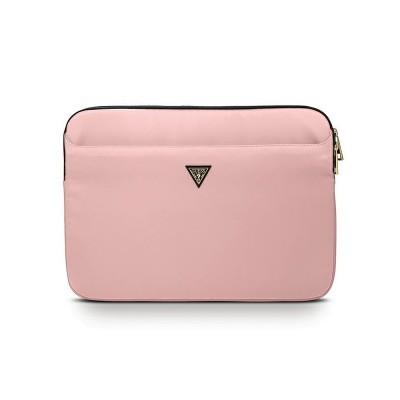 Husa Premium Originala Guess Sleeve Laptop / Macbook 13 Inch Roz Triangle Logo