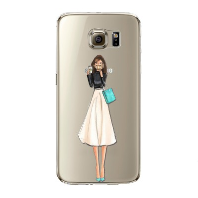 "Husa Samsung Galaxy S6 Edge ""COFFEE AND MINT DETAILS"""