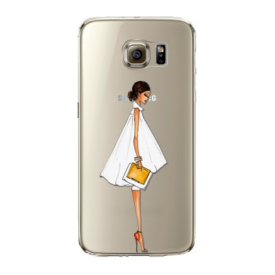 "Husa Samsung Galaxy S6 Edge ""WHITE AND GOLD"""
