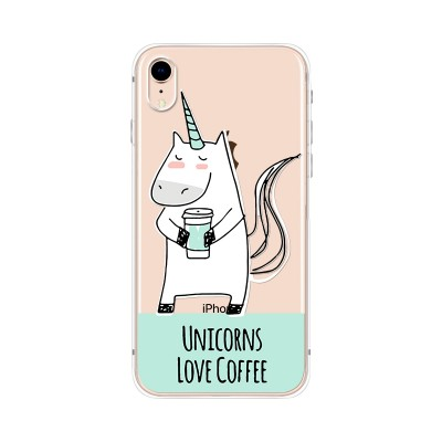 "Husa iPhone XR ""UNICORNS LOVE COFFEE"""