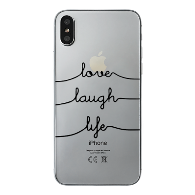 "Husa iPhone X ""LOVE LAUGH LIFE - WHITE INK"""