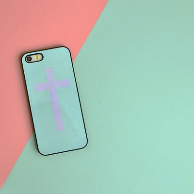 "Husa iPhone 5 / 5S / 5SE ""PINK MINT CROSS"""