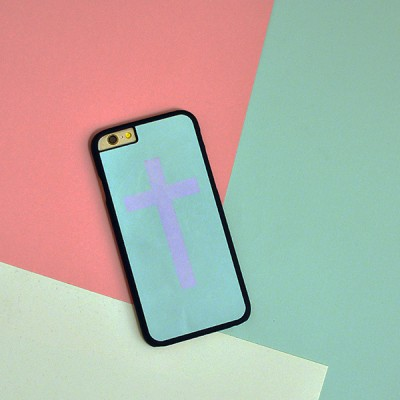 "Husa iPhone 6 / 6S ""PINK MINT CROSS"""