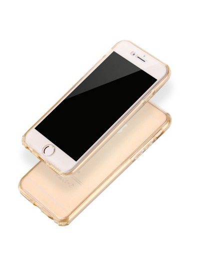 "Husa iPhone 7Plus / iPhone 8Plus ""CRYSTAL CLEAR GOLD 360° PROTECTION"""